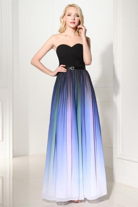 Colorized Gradient Chiffon Prom Dresses,2016 Prom Dresses,A Line Ombre Prom Dress,Ombre Bridesmaid Dresses,Cheap Ombre Formal Women Dress ,Gradient Graduation Dresses,Evening Prom Gown