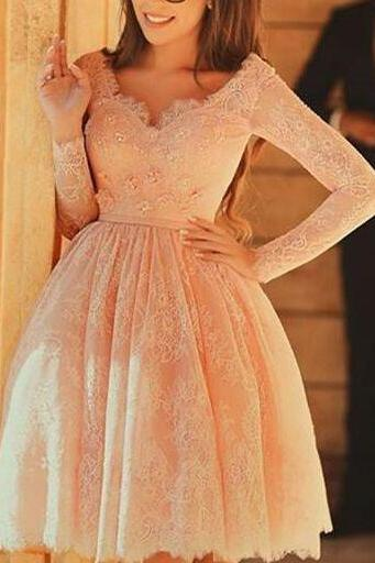 Skin Pink Lace Long Sleeves Homecoming Dresses,V Neck Long Short Prom Dresses Homecoming Dress,Knee Length Prom Dresses ,Cocktail Dress Prom Gowns,Custom Made Graduation Dresses,Homecoming Dresses 2016
