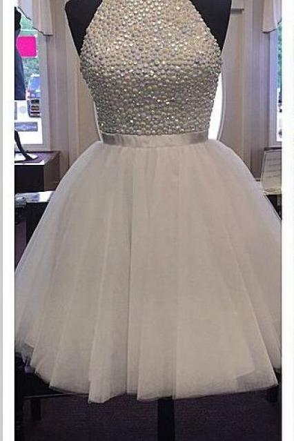 High Neck White Tulle Skirt Homecoming Dresses,Back O Short Homecoming Dresses,Custom Made Short Prom Dresses ,Beaded Short Prom Gowns,Short Graduation Dresses,Wedding Party Dress