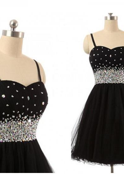 Spaghetti Straps Black Homecoming Dresses,Crystals Rhinestones Short Homecoming Dress,Black Short Prom Dresses ,Short Graduation Dress,Cocktail Dresses,Formal Women Skirt