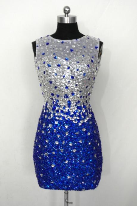 Royal Blue Silver Crystals Rhinestones Mermaid Homecoming Dresses,High Neck Sheath Short Homecoming Dresses,Backless Short Prom Dresses ,Graduation Dress,Open Back Cocktail Dresses,Formal Women Skirt