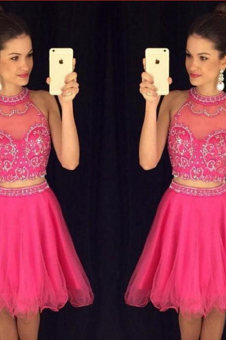 Charming 2 Pieces Homecoming Dresses,Hot Pink Homecoming Dresses,Short Prom Gown,Pink Sweet 16 Dress,High Neck Homecoming Dress,2 pieces Cocktail Dresses,Two Pieces Prom Dresses,Beaded Homecoming Gowns