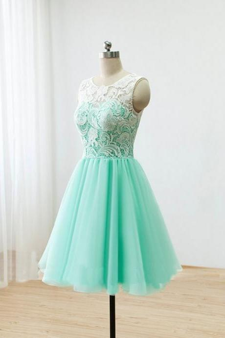 White Lace Mint Tulle Bridesmaid Dresses,Short Bridesmaid Dresses,See Through Back Bridesmaid Dresses,Custom Made Cheap Bridesmaid Gowns,Lace Short Prom Dresses,Homecoming Dresses,Cocktail Dress