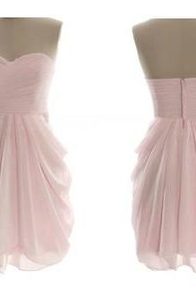 Pink Short Bridesmaid Dresses,Sweetheart High Low Bridesmaid Dresses,Ruffles Tiered Bridesmaid Dress,Cheap Bridesmaid Gowns,Simple Short Prom Dress,Homecoming Dress,Cocktail Dresses