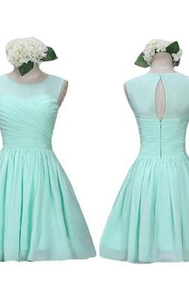 High Neck Mint Chiffon Bridesmaid Dresses,Back O Short Bridesmaid Dresses,Custom Made Bridesmaid Dress,Cheap Bridesmaid Gowns,Simple Short Prom Dresses,Homecoming Dress,Cocktail Dresses