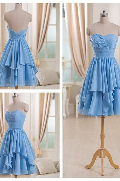 Light Blue Chiffon Bridesmaid Dresses,Sweetheart High Low Short Bridesmaid Dresses,Custom Made Tiered Bridesmaid Dress,Cheap Bridesmaid Gowns,Simple Short Prom Dresses,Homecoming Dress,Wedding Party Dresses
