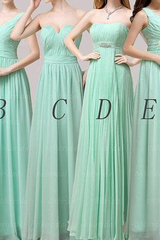 A Line Mint Chiffon Long Bridesmaid Dresses,Custom Made Simple Ruffles Bridesmaid Dresses Mismatch Maid of Honor Dress Girls Group Dress , Cheap Bridesmaid Dresses,Bridesmaid Gowns