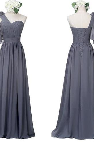 One Shoulder Bridesmaid Dresses ,Grey Bridesmaid Dresses,A Line Lace up Back Bridesmaid Dresses,Chiffon Bridesmaid Gowns,Simple Prom Dresses,Evnening Graduation Dresses