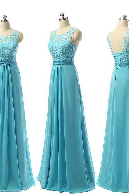 Light Blue Bridesmaid Dresses Lace Chiffon Long Gowns