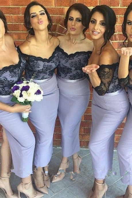 Long 3/4 Sleeves Black Lace Mermaid Bridesmaid Dresses,Tea Length Long Lavender Bridesmaid Dresses, Back Split Bridesmaid Gowns,Sexy Light Purple Bridesmaid Dress