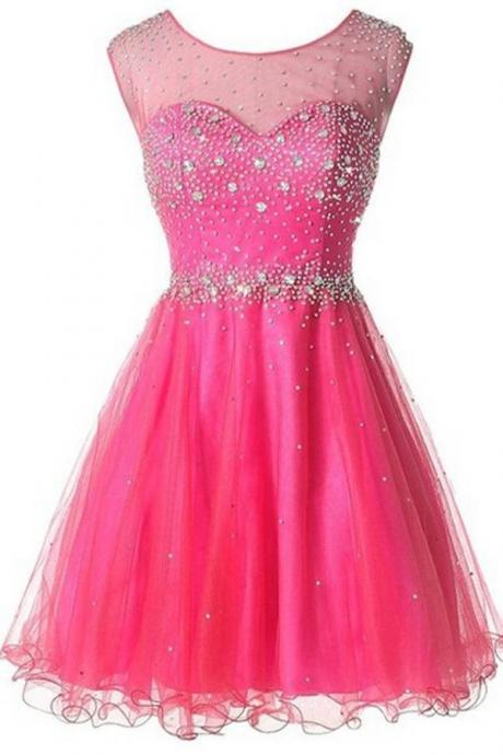 Hot Pink Tulle High Neck Backless Homecoming Dresses ,Open Back Beaded Homecoming Dress,Short Prom Dresses,Wedding Party Dress,Sweet 16 Dress,Short Homeocoming Gowns