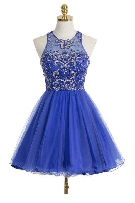 Royal Blue Short A-Line Tulle Homecoming Dress Featuring Halter Neck and Open Back Beaded Embellished Bodice
