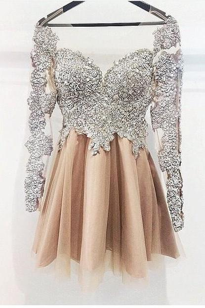 Silver Lace Beadings Champagne Skirt Homecoming Dresses ,Long Sleeves Mini Length Homecoming Dress Short Prom Dresses,Hot Sales Party Gown Cocktail Dress,Graduation Dress