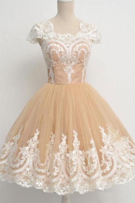 New Arrival Ivory Lace Champagne Homecoming Dresses Prom Gowns,Cap Sleeves U Neck Homecoming Dress Ball Gown,Graduation Dresses,Plus Size Homecoming Gowns,Short Prom Dress,Wedding Gowns