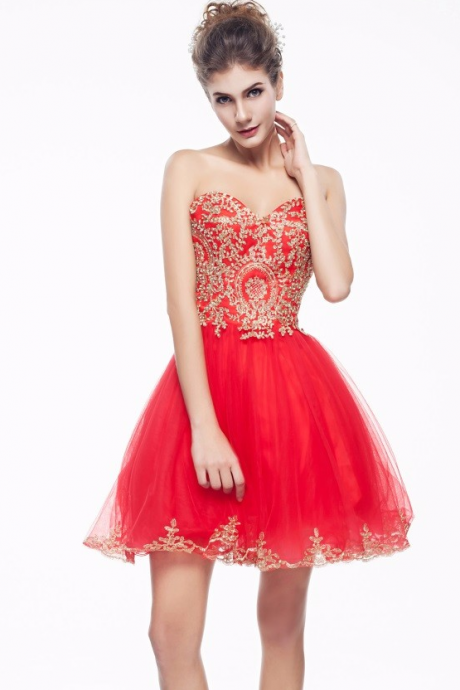 2016 New Gold Lace Red Tulle Homecoming Dresses ,Sweeheart Short Homecoming Dress,Fashion Short Prom Dresses Party Gown,Evening Gowns,Sweet 16 Dress,Women Skirt