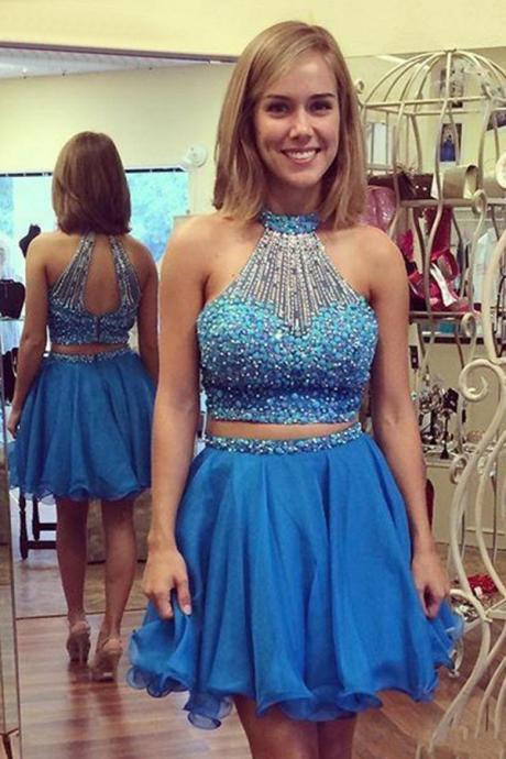 2 Pieces Homecoming Dresses,High Neck Blue Short Homecoming Dresses Prom Gown, Two Pieces Homecoming Dress,Sexy Backless Short Prom Dresses,Open Back Cocktail Dresses, Sweet 16 Dress