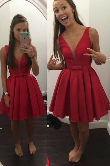 Simple Deep V Neck Sexy Homecoming Dresses ,Off the Shoulder Red Satin Short Prom Dresses Homecoming Dress ,Deep Back V Prom Party Gowns,Cocktail Dress ,Sweet 16 Dresses