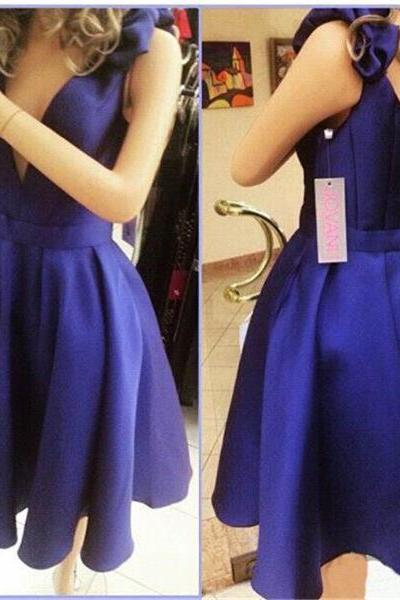 Deep V Neck Blue Homecoming Dresses ,Off the Shoulder Satin Short Homecoming Dress Prom Dresses ,Elegant Back V Cheap Prom Gowns,Wedding Party Dresses,Formal Women Dress