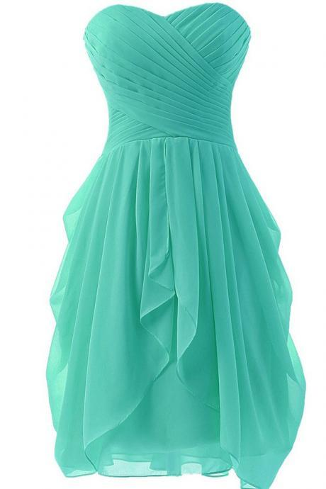 Mint Bridesmaid Dresses ,A Line Sweetheart Ruffles Short Bridesmaid Dresses ,Front High Low Bridesmaid Dress,Cheap Wedding Bridesmaid Gowns,Short Prom Dresses,Homecoming Dresses
