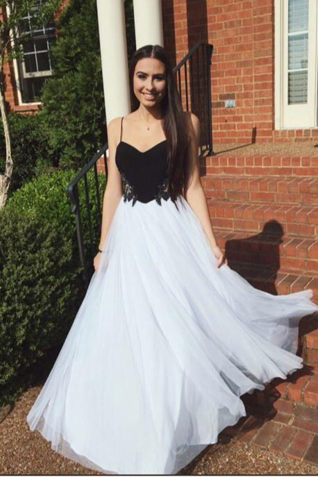 Charming A Line Princess White and Black Chiffon Prom Dress,Spaghetti Straps Sweetheart Long Prom Dresses,Beaded Evening Gowns,Cheap Prom Gowns,Sweet 16 Dresses