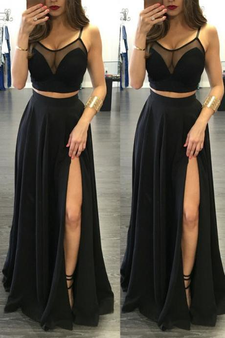 2 Pieces Simple Prom Dresses,Spaghetti Straps Black Prom Dresses,Two Pieces Front Split Prom Evening Gowns,Fashion Woman Dresses,Black Long Evening Dresses,Cheap Mother of the Bridal Dresses,