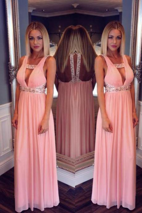2017 New Deep V Neck Pink Prom Dresses,A Line Empire Waist Off the Shoulder Evening Prom Dress,Backless Long Evening Prom Dresses,Open Back Prom Gowns,Formal Woman Gowns,Party Dresses