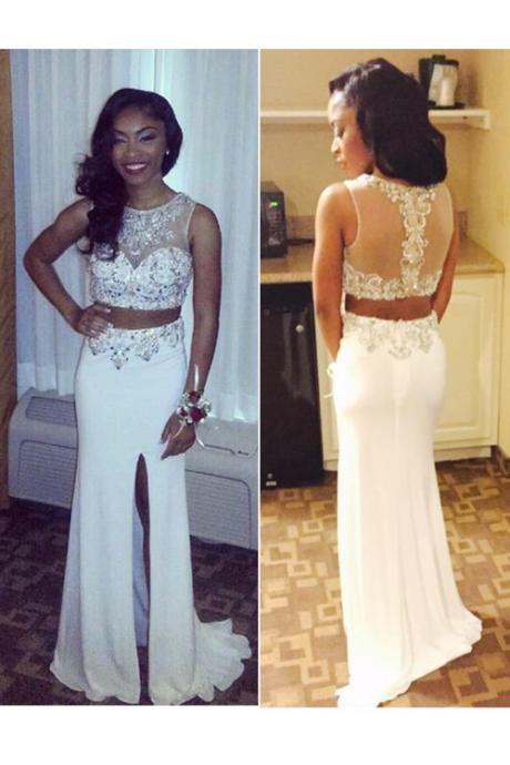 High Neck 2 Pieces Long Prom Dresses,Front Slit White Prom Dresses Two Pieces Sheath Prom Gowns See Through Back Evening Dresses,Hot Sales Beaded Mother of the Bridal Dress,Prom Dresses 2017