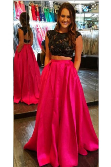 2 Pieces Prom Dresses,Black Lace Red Skirt Prom Dresses,Cap Sleeves Backless Prom Dresses,Open Back Two Pieces Prom Gowns Evening Dresses,High Neck Evening Gowns With Pocket