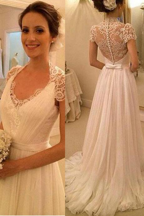 Ivory Lace Chiffon Wedding Dresses,Cap Sleeves V Neck Beach Wedding Dresses,See Through Back High Quality Bridal Wedding Dress,Hot Sales Custom Made Wedding Gowns,Long Prom Dress