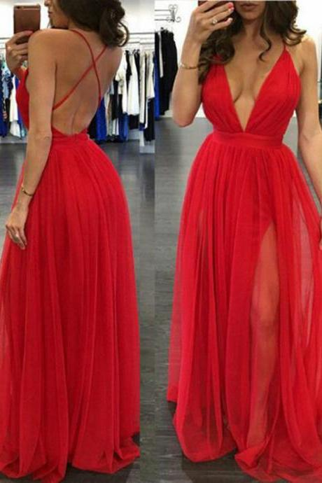 Backless Prom Dresses,Red Long Prom Dress,Spaghetti Straps Deep V Neck Prom Dresses,Open Back Evening Prom Dress,Simple Evening Prom Gowns,Cheap Wedding Party Dress PD019
