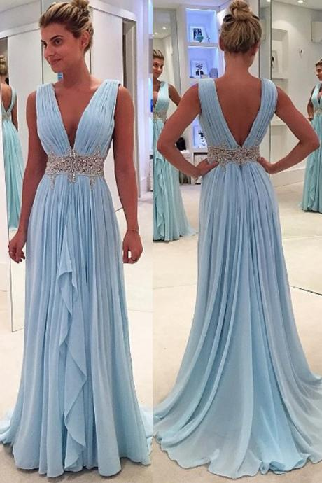 Hot Sales Light Blue Prom Dresses,A Line Deep V Neck Prom Dresses,Off the Shoulder Beads High Low Evening Dress,Back V Long Evening Prom Gowns,Charming Woman Dresses