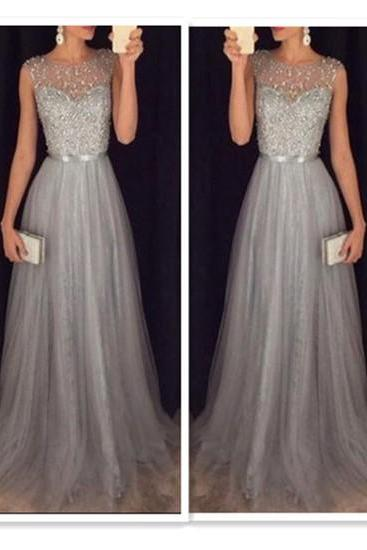A-Line Prom Dress,Gray Prom Dresses,Beading Prom Gown,Long Formal Dresses,Gray Evening Dresses,Prom Dresses