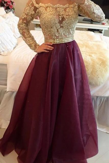 Long Sleeves Prom Dresses, Burgundy Prom Dress, Lace Evening Dresses, A Line Prom Gown, Prom Dress