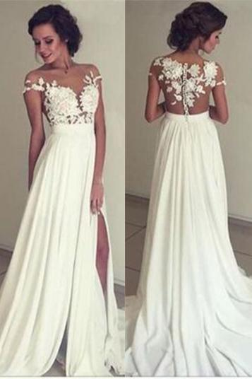 Chiffon Prom Dress, Simple Prom Dress,Long Evening Dress,White Prom Dress, Split Prom Dresses, Prom Dress