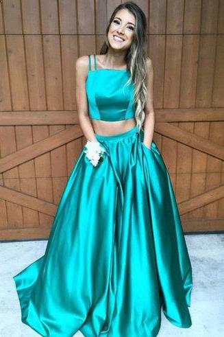 Modest Prom Dress, A-line Prom Dress, Two Pieces Prom Dresses, Hunter Green Prom Dress, Long Evening Dresses, Formal Evening Dress, Prom Dress