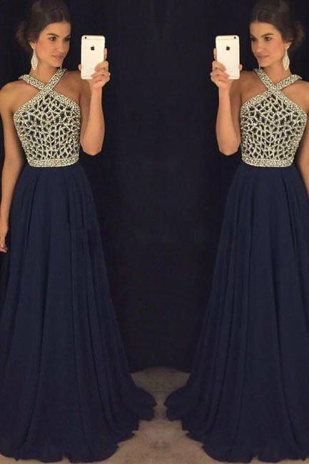 Dark Blue Prom Dresses, Beading Prom Dress, Long Prom Dresses, Chiffon Evening Dresses, Sexy Party Dresses, Prom Dress