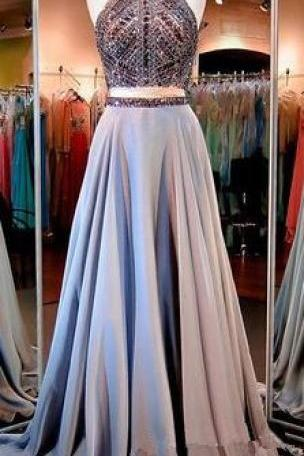 Two Pieces Prom Gown,Beading Prom Dresses,Chiffon Evening Gowns,2 Pieces Party Dresses,Long Evening Gowns,Sparkle Formal Dress For Teens, Prom Dress