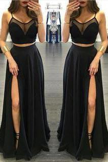 Black Prom Dresses, Slit Front Prom Dress,Sexy Evening Dress,Long Evening Gown, Spaghetti Straps Prom Dreses, Prom Dress