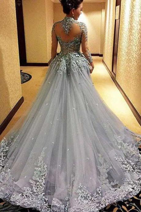 Ball GowN Prom Dresse, Princess Prom Dresses, Long Sleeves Prom Dress, Tulle Evening Dress, Gray Evening Dresses, Long Formal Dresses, Prom Dress PD069