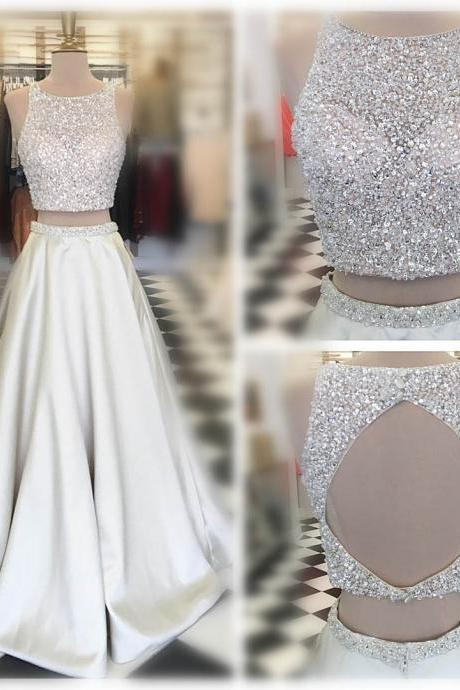 Two-Piece Formal Dress Featuring Glitter Halter Crop Top and Satin Floor Length Skirt