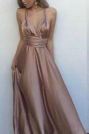 Sexy Prom Dress, V Neck Maxi Dress, Satin Prom Dress,Simple Sleeveless Prom Dresses,Long Evening Dress, Sexy Back Party Dresses, Prom Dress