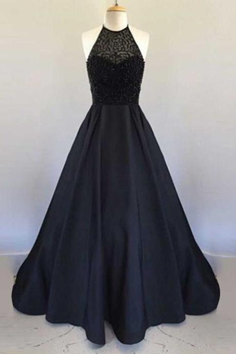 Elegant Prom Dress, Black Prom Gown,Long Prom dresses 2017,A Line Prom dresses,Beading Prom dresses, Prom Dress