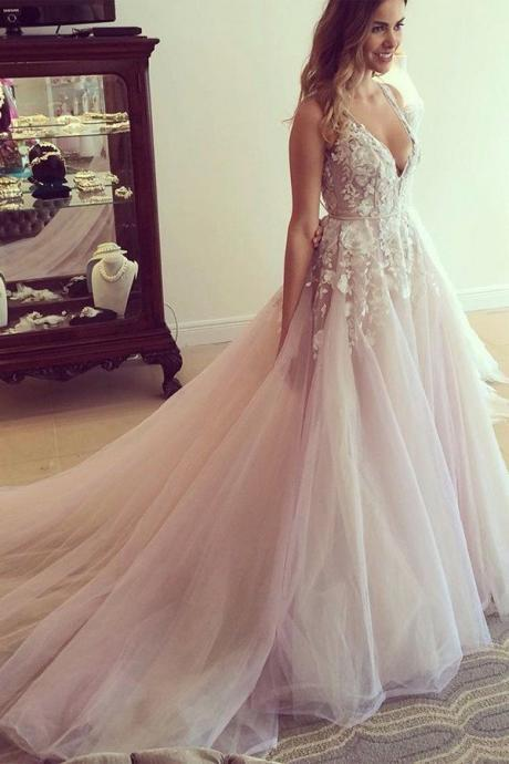 Princess Wedding Dresses, Pink Wedding Dreses, Ball Gown Wedding Dress, Long Wedding Dress/Prom Dress with Appliques, V-neck Wedding Gown, Wedding Dress PD041