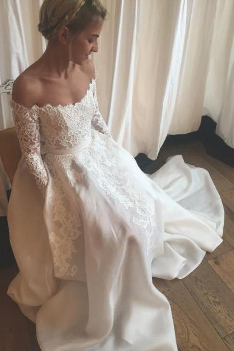 Off the Shoulder Wedding Dresses, Long Sleeves Wedding Dresses, Lace Wedding Dress, Romantic Wedding Dress, Lace Satin Bridal Dress, White Wedding Dresses, Wedding Dress