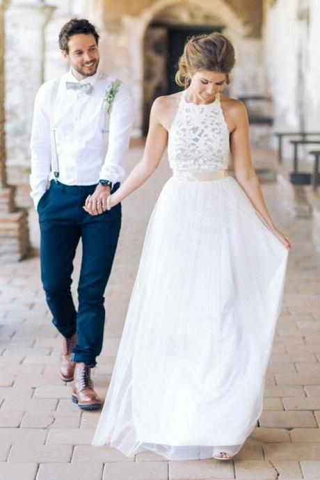 Simple Jewel Wedding Dresses, Sleeveless Long Wedding Dress, Lace Top Wedding Dress, White Tulle Wedding Dress, A-line Wedding Dress, Chic Garden Wedding Dress, Wedding Dress WD001