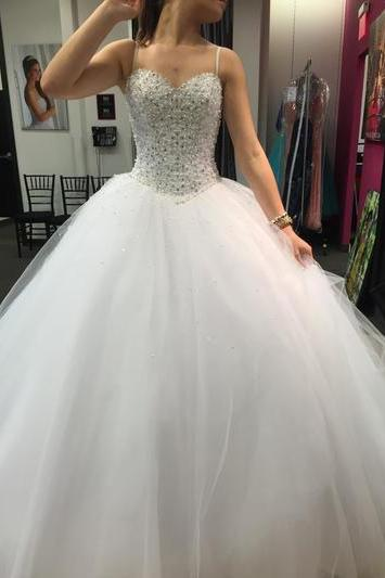 Ball Gown Wedding Dresses,Spaghetti Straps Wedding Dresses,Beading Wedding Dress,White Wedding Dress, Luxury Wedding Gown,Tulle Wedding Dress, Princess Wedding Dresses, Wedding Dress