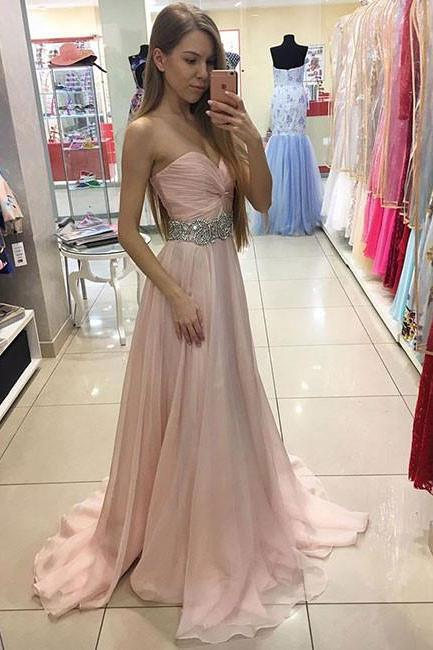 Beading Prom Dress, Pink Prom Dresses,Sweetheart Prom Dress,Chiffon Formal Gown,Long Party Dress,A Line Prom Gown,Prom Dress