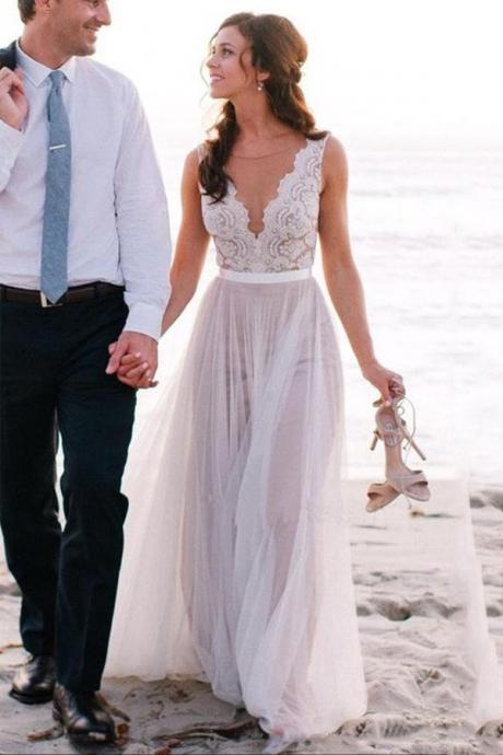 Elegant Wedding Dress,Beach Wedding Dress,Coast Wedding Dresses,Lace Bridal Gowns,A Line Tulle Wedding Dress,Bridal Dress For Beach Wedding,Wedding Dress WD013