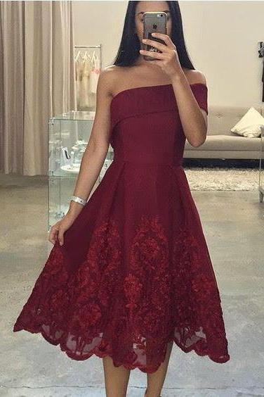 Sexy Short Prom Dress, Asymmetric Neck Prom Dress, One Shoulder Prom Dress, Burgundy Prom Gown, Short Evening Dress, Short Formal Dress, Lace Party Dress,Prom Dress