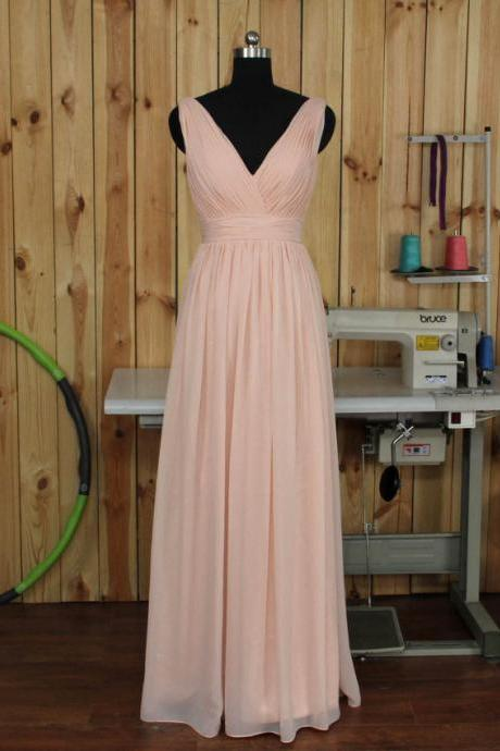 Deep V-neck Prom Dresses,Pearl Pink Bridesmaid dress, Wedding Party dress, Sexy Formal dress, Prom Dress Long,A Line Bridesmaid Dress,Bridesmaid Dress,Prom Dress